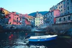 Scenic view of colorful village Riomaggiore. stock photography