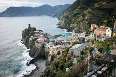 Scenic view of colorful village Vernazza in Cinque Terre Royalty Free Stock Image