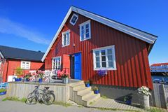 Scenic view of colorful wooden rorbu houses, Henningsvaer, Lofoten Islands, Scandinavia, Norway. royalty free stock photography