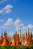 Scenic view of colorufl pagodas in Indein village, Inle lake Royalty Free Stock Photo