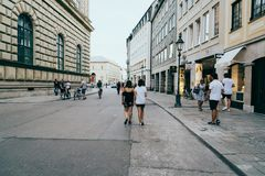 Scenic view of commercial street with luxury stores in city cent Royalty Free Stock Images
