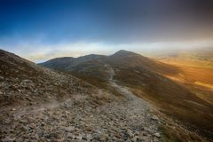 Between Heaven And Earth. Scenic View from Croagh Patrick nicknamed the Reek, is a 764 metres 2,507 ft mountain and an important site of pilgrimage in County Stock Images
