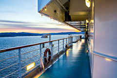 Scenic view of cruise liner deck and ocean Royalty Free Stock Image
