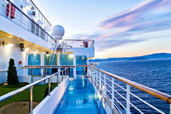 Scenic view of cruise ship deck and ocean. View from deck of cruise ship royalty free stock photography