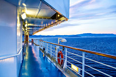 Scenic view of cruise ship deck and sea. View from deck of cruise ship stock photos