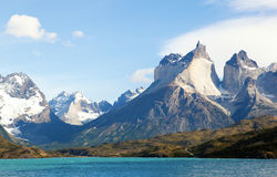 Scenic view of Cuernos del Paine. Mountains in Torres del Paine national park, Chile stock photos