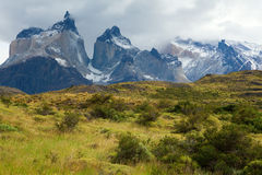 Scenic view of Cuernos del Paine. Mountains in Torres del Paine national park, Chile royalty free stock photos