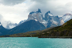 Scenic view of Cuernos del Paine mountains. In Torres del Paine national park, Chile stock photography