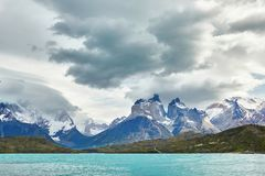 Scenic view of Cuernos del Paine. Mountains in Torres del Paine national park, Chile royalty free stock images