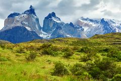 Scenic view of Cuernos del Paine mountains. In Torres del Paine national park, Chile stock images