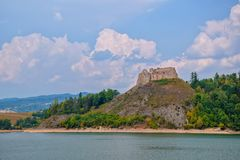 Scenic view of Czorsztyn Castle and artificial Czorsztynskie Lake in Southern Poland royalty free stock image