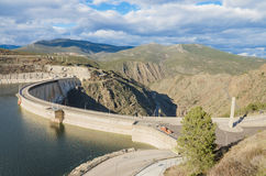 Scenic view of a dam in the Atazar Swamp, in Madrid, Spain. Stock Photography