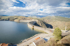 Scenic view of a dam in the Atazar Swamp, in Madrid, Spain. Royalty Free Stock Photography