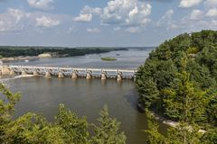 Illinois River Dam. A scenic view of a dam on the Illinois River stock images