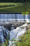 Quechee Gorge, Quechee Village, Town of Hartford, Windsor County, Vermont, United States. Scenic view of Dewey Pond and Dam from trail along the Ottauquechee royalty free stock photos