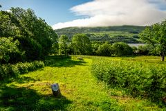A scenic view from disc golf course hole number five at Loch Tay Highland Lodges village Stock Photography