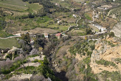 Scenic view down from Ronda Stock Photo