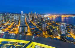 Scenic view of down town of seattle city at night,Seattle,Washi. Ngton,usa. for editorail use only royalty free stock photography