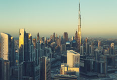 Scenic view of downtown Dubai, UAE, with skyscrapers Royalty Free Stock Photo