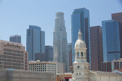 Scenic view of downtown Los Angeles in the very hot sunny day. Stock Image