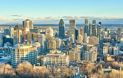 Scenic view of downtown Montreal. In winter skyline skyscraper city old canada quebec landscape building panorama blue travel day snow architecture office urban stock photography