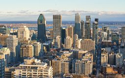 Scenic view of downtown Montreal. In winter skyline skyscraper city old canada quebec landscape building panorama blue travel day snow architecture office urban stock images