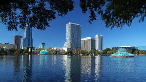 Scenic view of downtown Orlando's skyline as seen from Lake Eola Park Royalty Free Stock Image