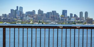 Scenic view of downtown Seattle and Union Lake stock image