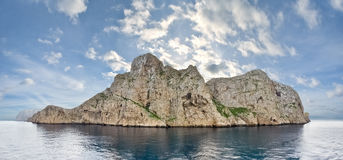 Dragonera Island from seaside, Mallorca - Spain. Panorama of five vertical frames Royalty Free Stock Photos