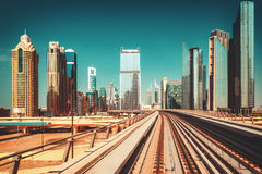 Scenic view of the Dubai skyscrapers. Travel background. Royalty Free Stock Image