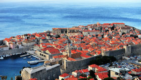 Scenic view of Dubrovnik old town at sunrise Stock Images
