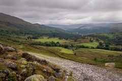Scenic view of Duddon valley in the Lake District National Park, UK. Many footpaths suitable for hiking in beautiful English. Countryside stock images