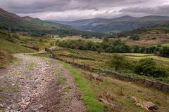 Scenic view of Duddon valley in the Lake District National Park, UK. Many footpaths suitable for hiking in beautiful English. Countryside royalty free stock photos
