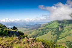 Scenic view from The Edge over Tyhume Valley and Amathola Mountains in Hogsback , Eastern Cape, South Africa. Scenic view from The Edge over Tyhume Valley and stock photo