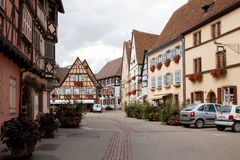 A scenic view in Eguisheim village in France Royalty Free Stock Photography