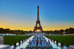 Scenic view of the Eiffel tower during sunrise Stock Images