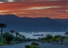 Scenic view on Eilat (Israel) and Aqaba (Jordan) Stock Photography