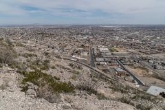 A scenic view of El Paso Texas from the Franklin Mountains. El Paso Texas as seen from the Franklin Mountain scenic drive el-paso usa arid climb desert hiking royalty free stock photos