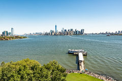 Scenic view from Ellis Island to downtown New York royalty free stock photography