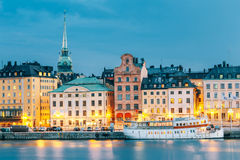 Scenic View Of Embankment In Old Part Of Stockholm At Summer Evening Royalty Free Stock Image