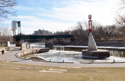 Scenic view of the embankment. View of the Red River embankment in Winnipeg City (Forks district), Manitoba, Canada. Photo was taken in November 2013 royalty free stock photography