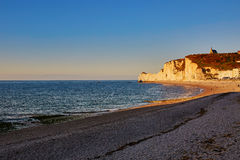 Scenic view of Etretat cliffs at sunset Royalty Free Stock Image