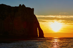 Scenic view of Etretat cliffs at sunset Royalty Free Stock Photo