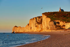Scenic view of Etretat cliffs at sunset Royalty Free Stock Photography