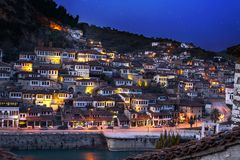 Scenic view of evening Berat Stock Photo