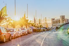 Scenic view of the evening street of Kalkara Malta in the rays of sunset. Toned instagram effect Royalty Free Stock Images