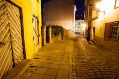 Scenic view of the evening street in the Old Town in Tallinn, Es Royalty Free Stock Photography