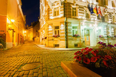 Scenic view of the evening street in the Old Town in Tallinn, Es Royalty Free Stock Photo
