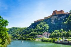 Scenic view of famous citadel in Besancon, France royalty free stock photos