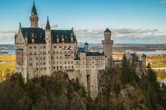 Scenic view of famous fairytale looking Neuschwanstein castle in Bavaria, Germany Royalty Free Stock Images